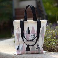 新款撞色原创布包创意图案文艺小清新街拍女单肩帆布包环保袋春夏