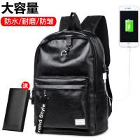 新款潮流双肩包男皮质背包大学生书包韩版男士旅行包电脑包男