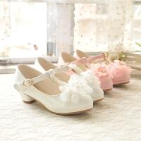 春秋季女童皮鞋儿童高跟公主鞋中大童鞋女童鞋牛筋底单鞋