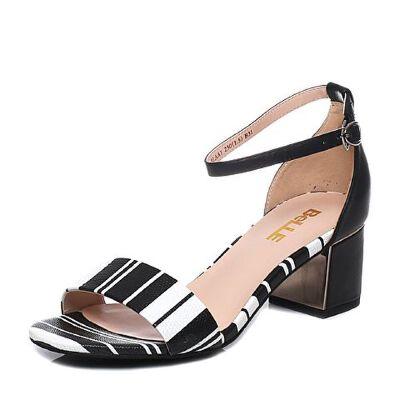 Belle/百丽夏季专柜同款粗跟皮凉鞋BLAA1BL7