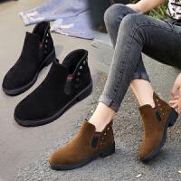 秋冬新款英伦风百搭徐子女短靴金属扣套脚方跟休闲女靴