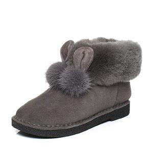 Teenmix/天美意2017冬专柜同款灰色可爱小耳朵绒毛球雪地靴女靴(仿毛里)AQ191DD7