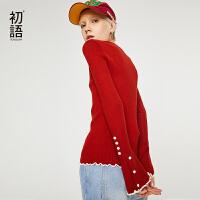【开学季,满减价:48.6元】初语韩版圆领长袖套头上衣女秋装新款百搭修身打底针织衫女