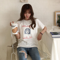 春夏女装韩版甜美宽松百搭卡通印花短袖T恤学生打底衫上衣体恤潮 均码