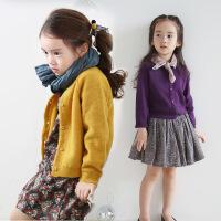 童装韩国女童春冬兔绒纯棉针织开衫中大童厚款百搭纯色外套