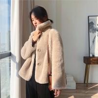 羊毛皮草外套冬名媛气质中长款修身LIZ2018冬季新款羊剪绒大衣颗粒加厚真毛一体羊毛皮草外套女短款新
