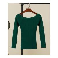 修身针织衫女士薄款毛衣一字领露肩上衣春秋季长袖紧身秋装打底衫 墨绿色 长袖