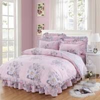 纯棉床裙款床罩四件套裙式床单带花边1.5米1.8m全棉床上被套100%