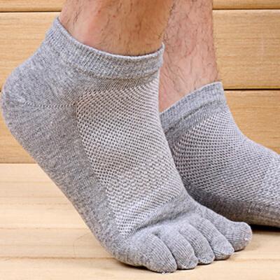 5双装浪莎男袜子男棉袜中筒薄款男士五指袜男短袜运动短筒防臭脚趾袜