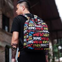 字母印花个性街头潮流时尚双肩包男旅行背包大容量中学生书包