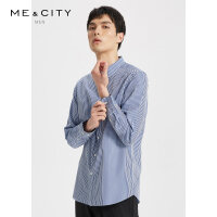 【1件4折到手价:99.6】MECITY男装夏季新款纯棉商务时尚撞色条纹长袖衬衫潮流衬衣男
