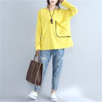 秋冬新款大码女装胖长袖T恤衫纯色贴布大口袋长袖宽松上衣