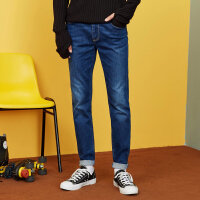 美特斯邦威牛仔裤男士冬装新款简洁洗水修身小脚长裤韩版潮