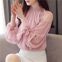 秋装女2018新款韩版长袖宽松遮肚子雪纺衫上衣仙气质洋气小衫季