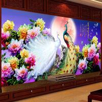 家居家居花开富贵十字绣孔雀钻石画客厅牡丹花新款点贴钻绣砖石秀满钻大幅 图片色