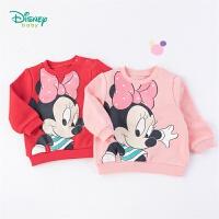 迪士尼Disney童装女童圆领抓绒卫衣可爱米妮印花上衣新品保暖衣服193S1250