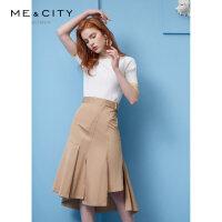 【2件1.5折价:67.4】纯棉MECITY女装春季不规则可调节腰带半裙