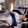 伊迪梦家纺高档奢华多件套四件套六件套八件套十件套床上用品全棉活性天锦绸贡缎提花绣花绗缝夹棉YM452