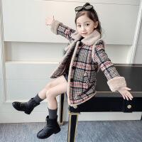 女童秋冬季加厚呢子大衣韩版中大童12娃娃领15加绒格子9风衣外套6
