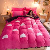 韩版珊瑚绒四件套加厚冬季保暖纯色法莱绒法兰绒床单被套1.8m床上