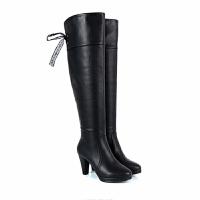 2018新款防水台过膝长靴中跟真皮保暖长筒靴高跟冬季加绒高筒靴女SN1165