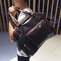 男士手提包韩版时尚旅行背包潮流休闲单肩包斜跨包新款男包商务包 咖啡色