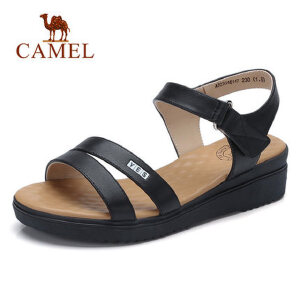 Camel/骆驼平底凉鞋女2018夏新款坡跟中跟学生软妹罗马鞋子韩版简约百搭