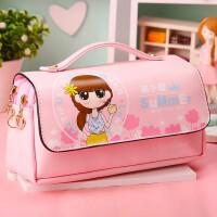 韩国简约女生笔袋小清新创意可爱中学生文具盒大容量手提式铅笔袋
