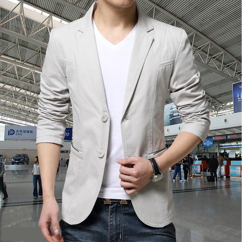 2018春款青年修身西装外套男士休闲纯色水洗棉小西服上衣男便服 米白色 偏浅灰色 3X 发货周期:一般在付款后2-90天左右发货,具体发货时间请以与客服商的时间为准