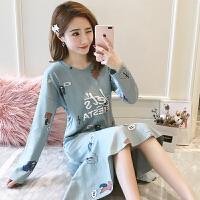 韩版睡衣女春秋季长袖甜美可爱睡裙秋天学生女士家居服可外穿