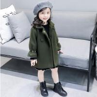 新款冬装女童韩版纯色加厚单排扣上衣呢子大衣外套公主A3-A4