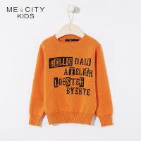 【1件2.5折到手价:58.8】米喜迪mecity童装春新款男童毛衣字母提花毛织长袖毛衫
