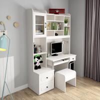 简约台式电脑桌带书架组合家用一体书桌书柜北欧奢华型卧室写字桌