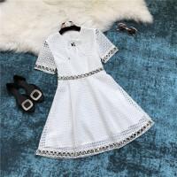 18春夏明星同款气质系带圆领短袖高腰A字镂空蕾丝连衣裙女 白色