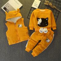 宝宝秋冬套装0一1-3岁半男宝加绒加厚三件套2婴儿卫衣金丝绒冬天4巴