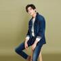 美特斯邦威旗下 4M牛仔长裤男士春季新品男简洁弹力舒适洗水牛仔长裤