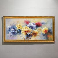 油画手绘客厅装饰画欧式抽象画新古典中式牡丹玄关挂画美式餐厅画 220*100 其他类型 单幅