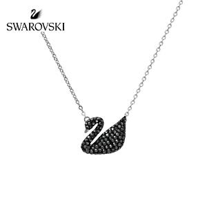 SWAROVSKI/施华洛世奇 Iconic Swan 黑天鹅项链锁骨链 银链5347329