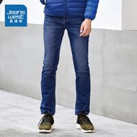 真维斯牛仔裤男 冬装男装针织牛仔长裤青年裤子
