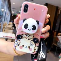网红潮牌支架iphone7/8plus手机壳6s硅胶软挂绳苹果x可爱xsmax女r 苹果x 头像熊猫支架挂绳 5.8寸