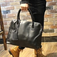 电脑包潮包男士手提包潮流时尚男包复古单肩包休闲韩版皮包 黑色