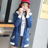 少女冬装加绒外套2018新款韩版初高中学生女装中长款牛仔加厚外套
