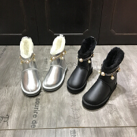 欧洲风格站2017冬季新款女鞋羊皮毛一体保暖雪地靴厚绒圆头靴棉靴