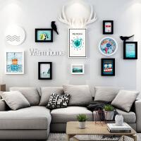 家居生活用品现代简约装饰画客厅沙发背景墙壁画组合创意鹿角钟表卧室挂墙墙画 多尺寸
