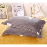 枕套纯色加厚法兰绒枕头套法莱绒单双人枕芯套珊瑚绒枕套 三角奶奶灰 枕套一只 48cmX74cm