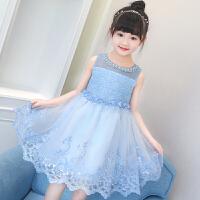 女童连衣裙夏新款公主裙蓬蓬纱洋气小女孩无袖网纱蕾丝边裙潮