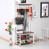 卧室落地衣帽架组合鞋架客厅钢木置物架创意室内壁挂