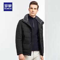 【2.5折到手价:398】罗蒙男短款羽绒服中青年冬季新款休闲羽绒服时尚保暖羊毛立领外套