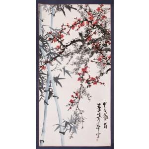 著名画家、书法家   董寿平(原装旧裱)《梅竹双清》