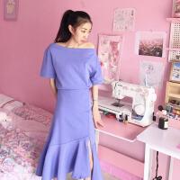 韩版时尚休闲套装夏装女装纯色修身短袖T恤上衣+鱼尾半身裙两件套 均码